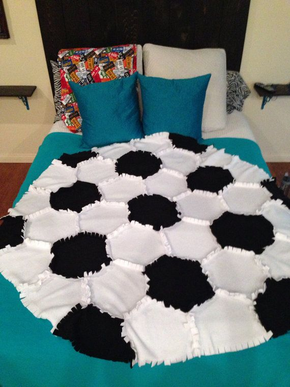 Fleece Soccer Ball Rag Quilt/Blanket Throw by PatchworkLuxury