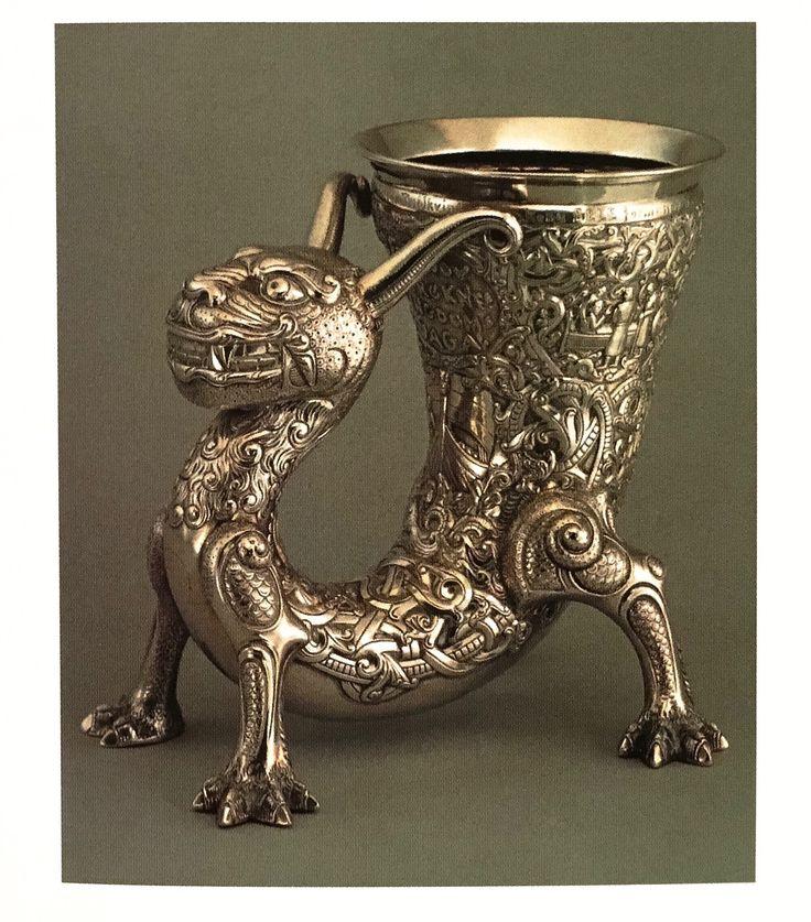 Drinking horn by the Norwegian Henrik B. Møller - a fantasy on medieval themes, c. 1900.