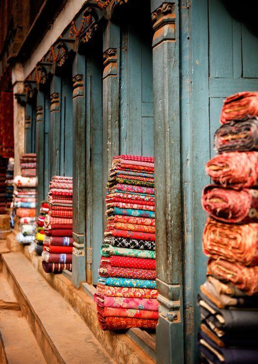 ARTFINDER: Textile Shop, Bhaktapur. (42x59cm) by Tom Hanslien - From my travels to Nepal in 2012. A textile shop in Bhaktapur, an UNESCO World Heritage Site near Kathmandu.