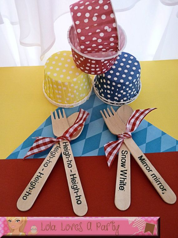 30 Favor Cups and 30 WOODEN Utensils Snow White Party, Ice Cream Spoon, Birthday, Disney, Package,