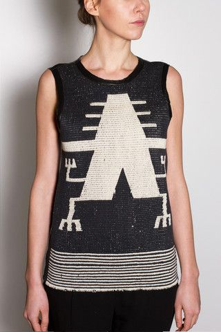 Tahi Tank, hand-loomed pima cotton, trim and back 100% genuine lambskin. Mapuche symbol of Lukutuwe, the Supreme Being. Shop now at http://www.madebyvoz.com/collections/tops/products/tahi-tank