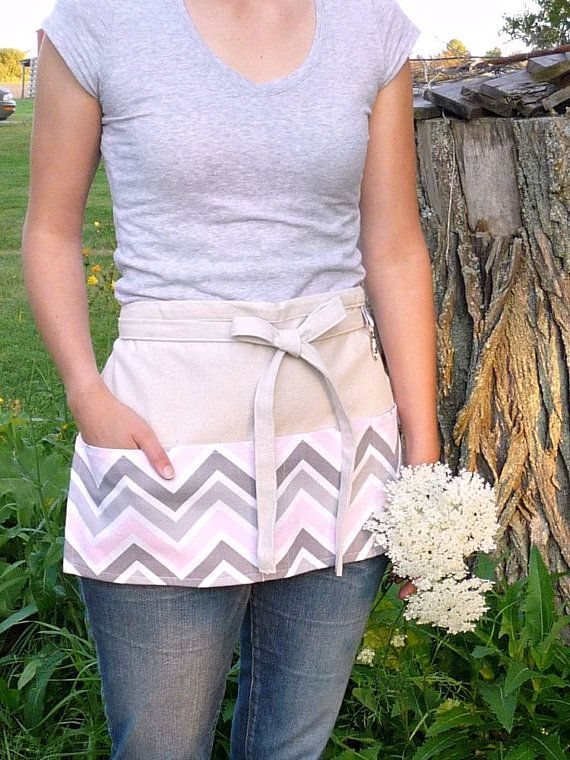 Pink Gray Chevron  Half Apron With Pockets  by greenwillowpond