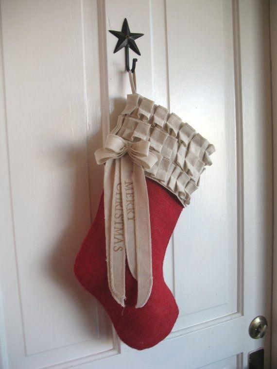 Red Burlap Christmas Stocking cotton ruffles ~ I love this stocking!!! #Burlap Christmas #Burlap