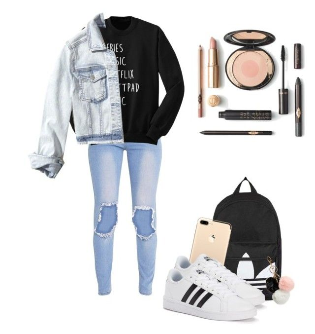 """""""Untitled #2"""" by fbarbie on Polyvore featuring Topshop, adidas, GUESS and Hollister Co."""