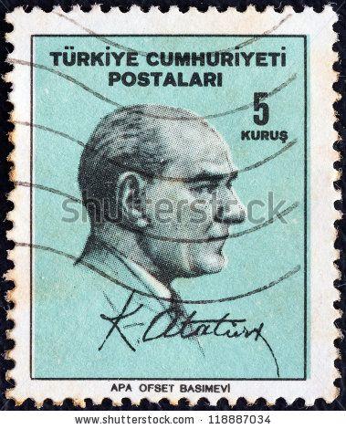 TURKEY - CIRCA 1965: A stamp printed in Turkey shows Kemal Ataturk and signature, circa 1965. - stock photo