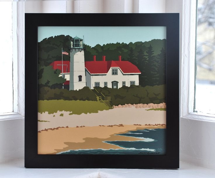 Chatham Light, Massachusetts Framed Print (8x8 Square, Wall Decor Art). Chatham Light print by Graphic Artist Alan Claude. Framed print Art is UV protected with durable matte laminate coating. No glass or plexiglass. Art is permanently bonded so it will not buckle, wrinkle or fade For indoor use only and ready to hang. (framed 9.25x9.25) Beautiful deep flat Acadia Black high quality wood frame. Certificate of Authenticity. Off-set print beautifully printed on archival heavy paper with...