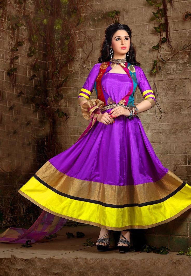 Purple Art Silk Readymade Abaya Style Churidar Kameez: KES115 $131