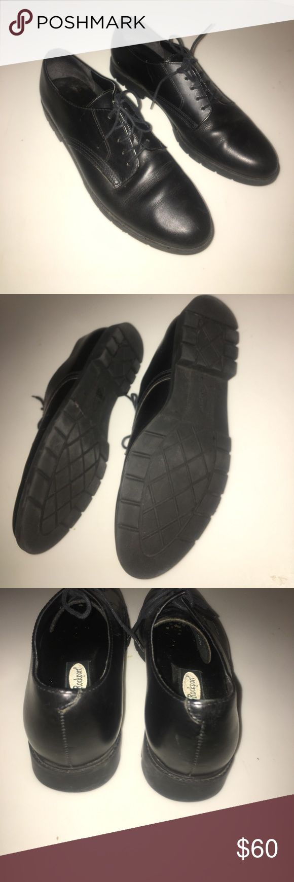 BLACK LEATHER ROCKPORT SHOES Worn once inside. No signs of wear! Comfortable. ROCKPORT. Tags- Steve Madden Jcrew Shoes Dress shoes Rockport Shoes Sneakers