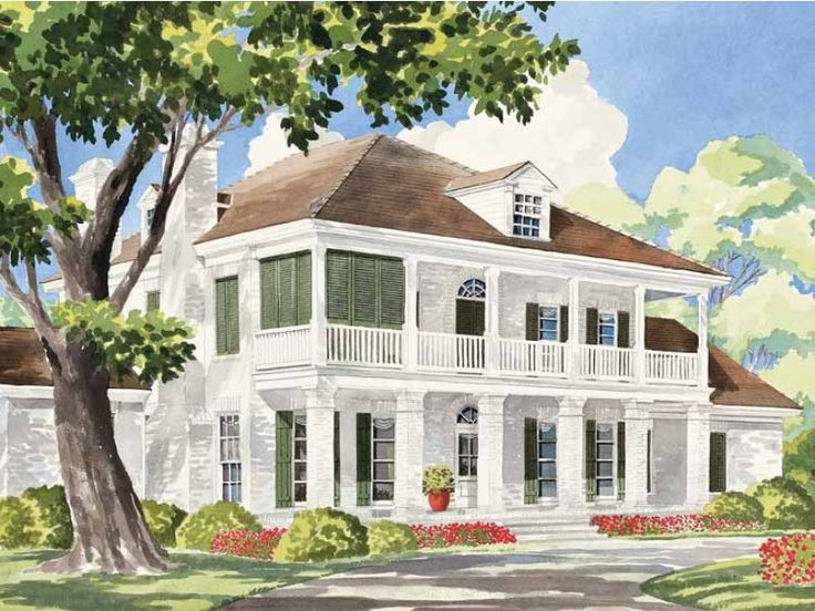 Eplans plantation house plan sterett springs from the for Plantation house plans