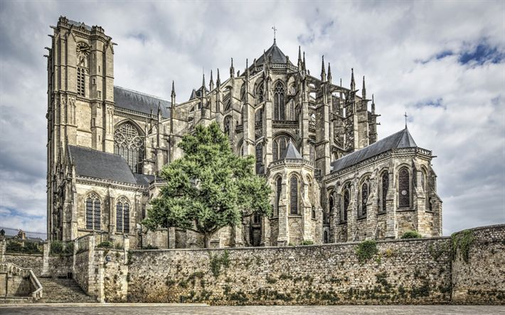 Download wallpapers Cathedral, Saint Julien, Le Mans, landmarks, France