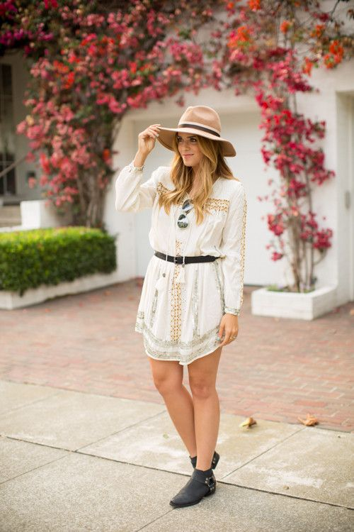 8.14 embroidered (Preston & Olivia hat + Topshop embroidered smock dress and leather belt + Topshop booties)