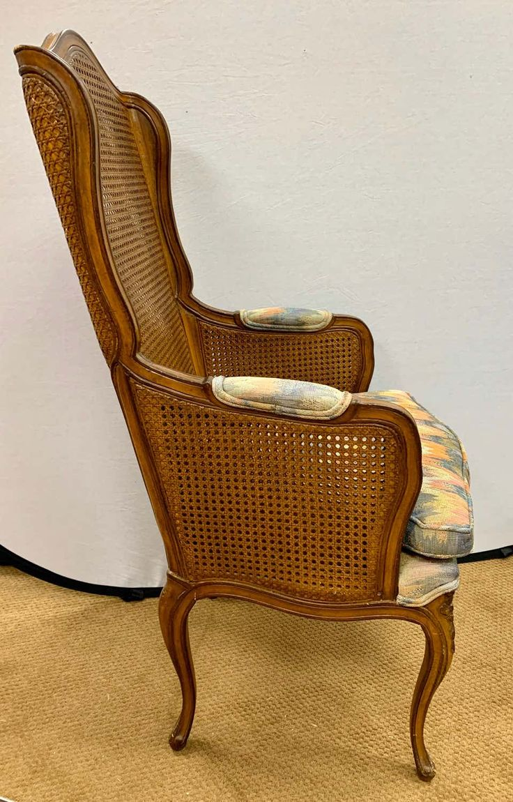 Pair of Vintage French Cane Wing Back Chairs Vintage