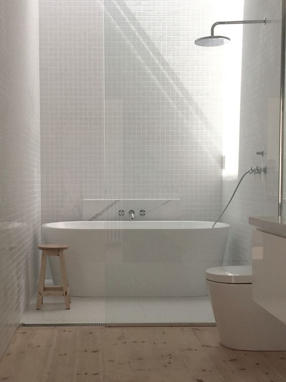 Bathtub Main Bathroom Gloss White Tiles Matt White 600 X 600 Tiles Baltic Pine Floor Calcutta Marble Benchtop Minimal White Bathroom