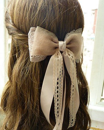 Note to self:  3 different size ribbons hot glue/sew to metal hair clip. (For the weight of this bow I suggest one of those comb accessories and sew the bow on)