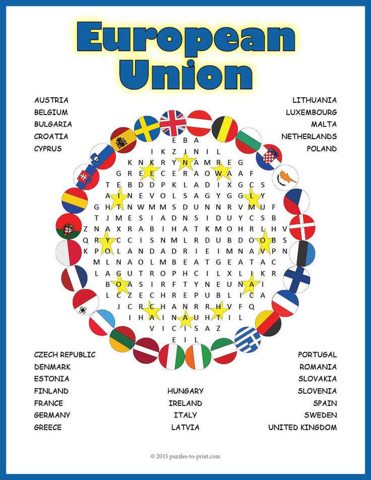 A word search puzzle featuring the names of the 28 member states of the European Union. Doing a word search puzzle is a great way to familiarize students with vocabulary and lists of words. They review spelling and memorize facts while having fun.