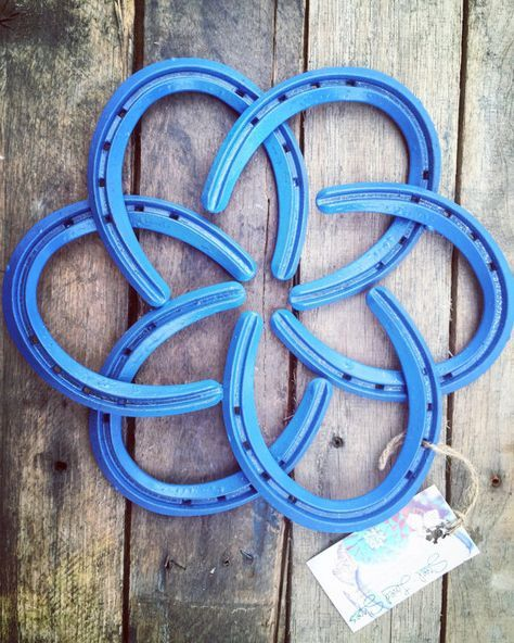 Horseshoe Wreath Shabby-Chic Country Wall Decor by SteelLovedShoes Horseshoe horseshoes art home decor shabby-chic farm-chic horse shoes Wildflower Blue