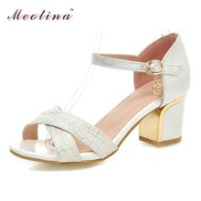 Chaussures Femmes Sandales Chunky Talons hauts Sandales À Bout Ouvert Sandales Chaussures partie Chaussures De Mariage Dames Chaussures Blanc Rose Grande Taille 9 10(China (Mainland))