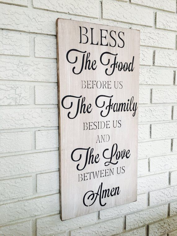 Bless The Food Sign Kitchen Wall Decor Vertical Art Rustic Home Farmhouse Style