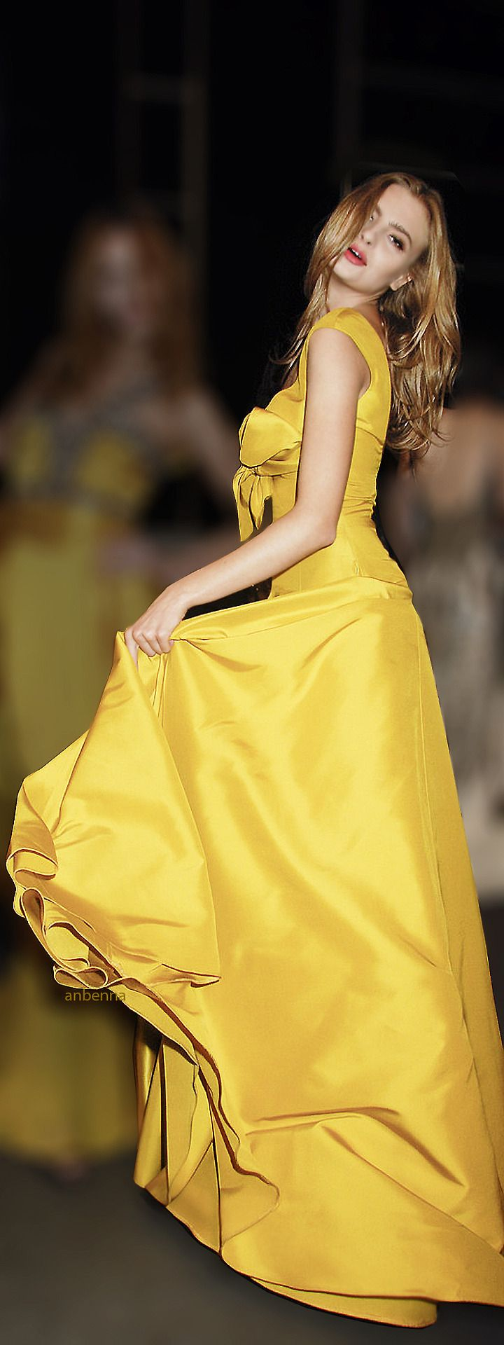 Yellow maxi evening dress. women fashion outfit clothing style apparel @roressclothes closet ideas
