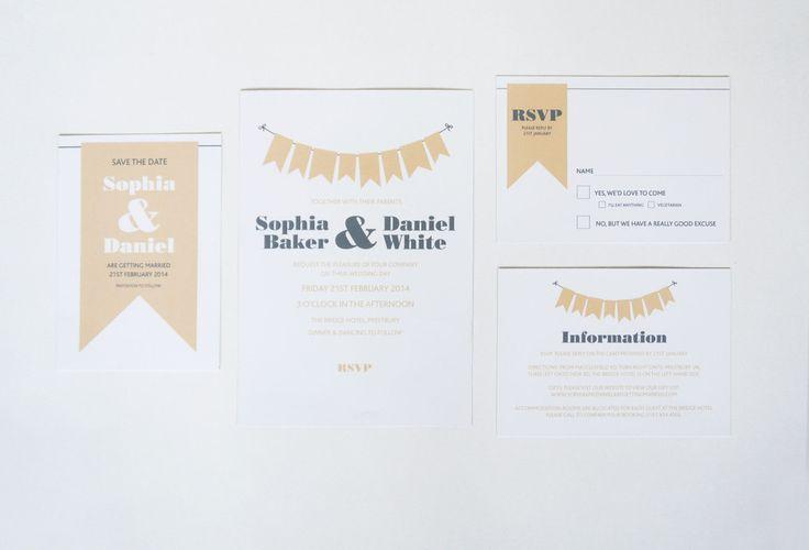 Country Bunting Wedding Invitation range  sarahcoll.com