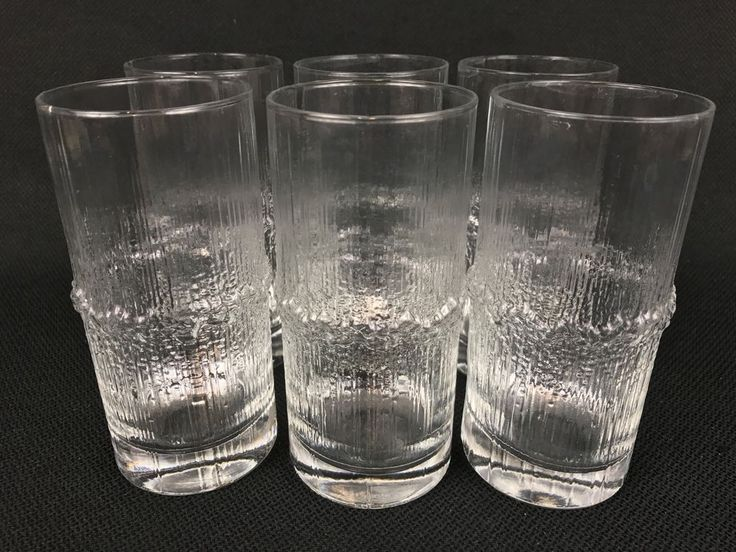 "Iittala Niva SIX  5 5/8"" Highball Glasses Icicle Mid-Century Tapio Wirkkala"
