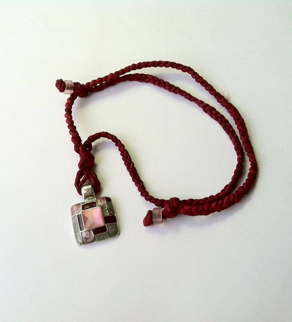 Repurposed Retro Pink Pendant on an Adjustable Burgundy