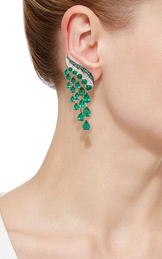 Vanleles X Gemfields Emerald Earrings by VANLELES for Preorder on Moda Operandi