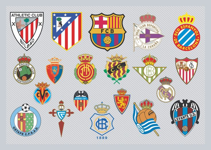Football logos and symbols of the spanish first division clubs playing in the primera división of the liga de fútbol profesional, the professional football league. Description from aiepsfile.com. I searched for this on bing.com/images