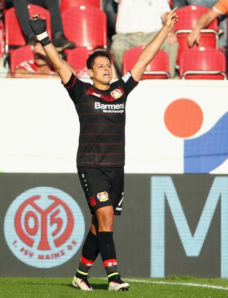 Javier Hernandez of Leverkusen celebrates his team's third goal during the Bundesliga match between 1. FSV Mainz 05 and Bayer 04 Leverkusen at Opel Arena on September 24, 2016 in Mainz, Germany.