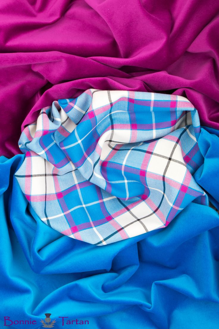 "New & exclusive #BonnieSky #Tartan with #BonnieFuchsia and #BonnieSky #velvets. Vibrant & bright, selected especially for the Champion Highland Dancer. The main checks are enhanced by our choice of lively accent colours, rather than the usual black. Our tartan design sett's just 5 5/8"" making it ideal for our youthful Dancers."