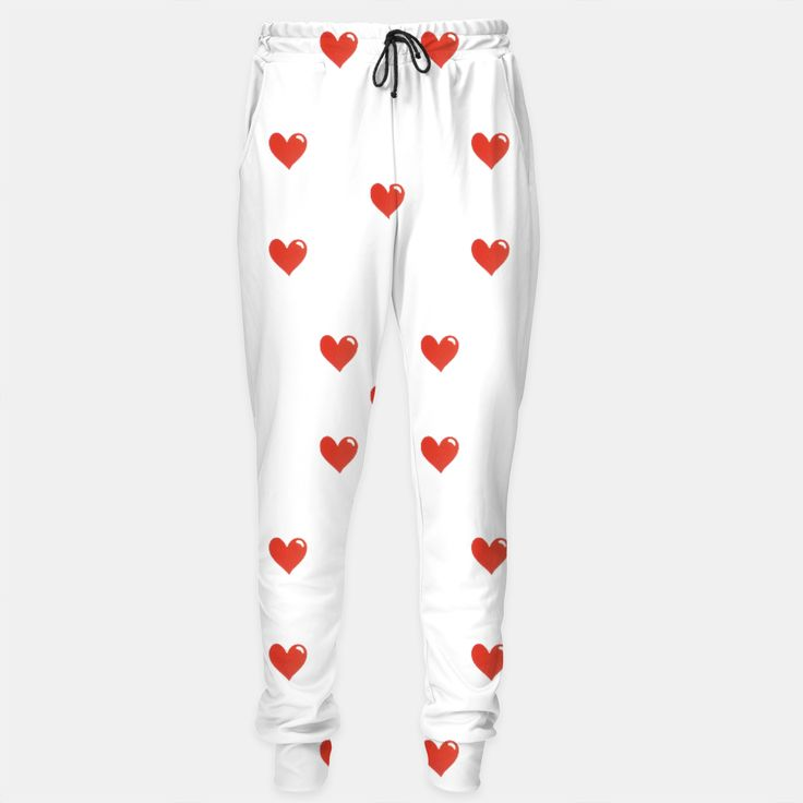 Cute Hearts Motif Pattern Sweatpants, Live Heroes