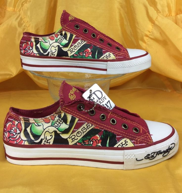 ED HARDY by Christian Audigier red slip on canvas shoes . eu37 women's 6 #EdHardy #Trainers