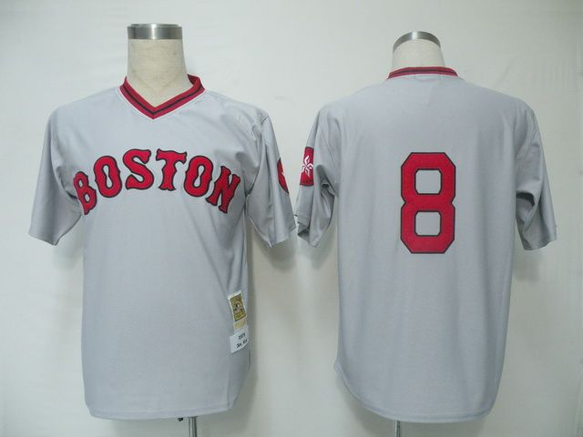 057da028d33 Mitchell and Ness Red Sox 8 Carl Yastrzemski Grey Embroidered Throwback MLB  Jersey! Only 2017 Boston ...