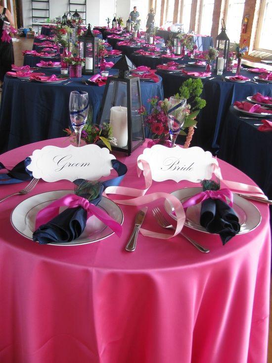 Navy and Fuchsia wedding reception. Pretty!