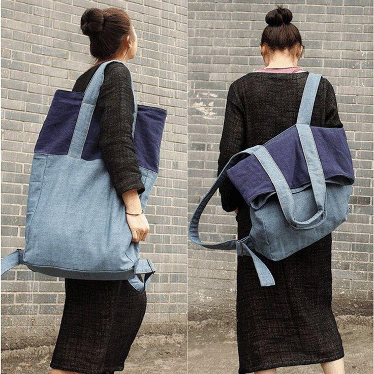 New fashion mixed color backpack&shoulder bag(linen material)
