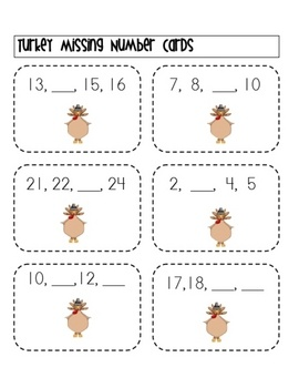 Here's a turkey-themed missing number activity. A recording sheet and hundred board is included.