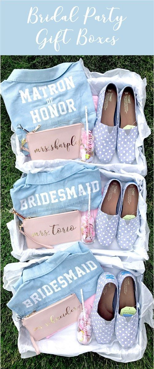 Bridal Party Gift Boxes. Bridesmaids & Maid of Honor Gifts. Personalized Shirts, Toms Shoes, Champagne Glasses, Customized Wristlets.  | #TheOilyAnalyst #LifestyleBlogger #AnimalAdvocate #StarWars #EssentialOils #SeekerofLaughter #BloggingAdvice #BloggingHelp #Budgeting #Debt #MakeMoney #PetCare #YoungLivingEssentialOils #YLEO #Funny #Comedy | theoilyanalyst.com
