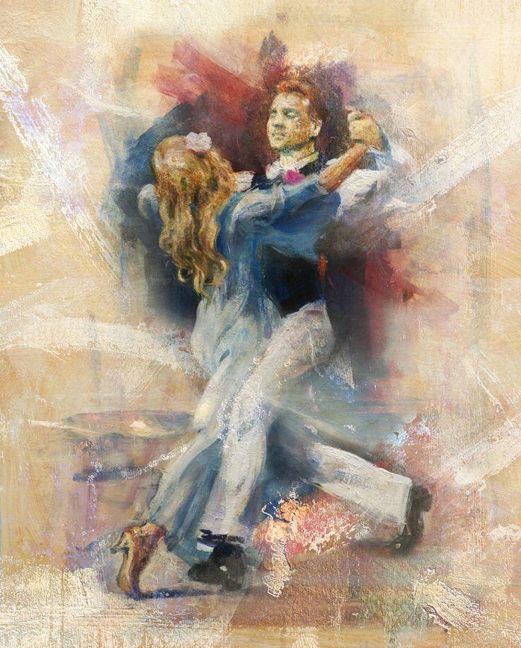 Blå dansHåndkolorert inkjet