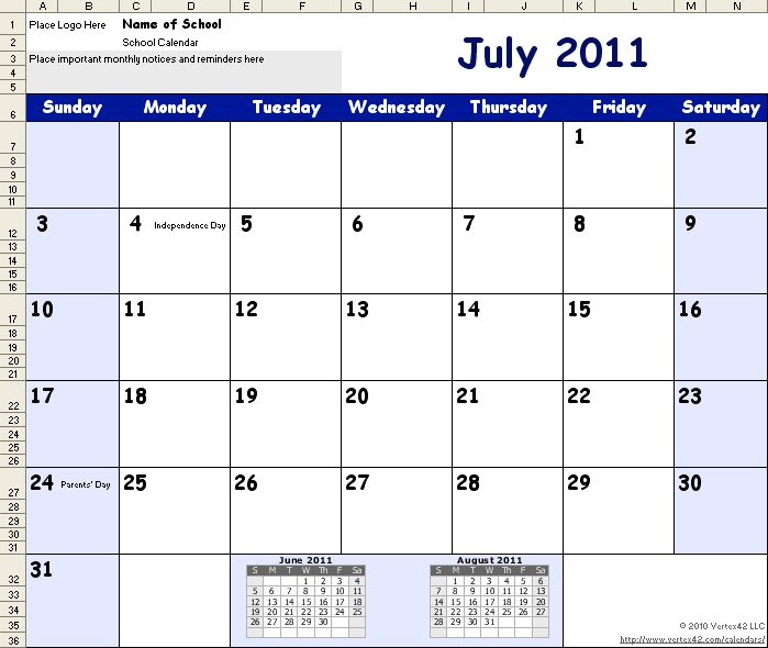 Download a school calendar template for 2013 2014 yes i for Calendar template by vertex42 com