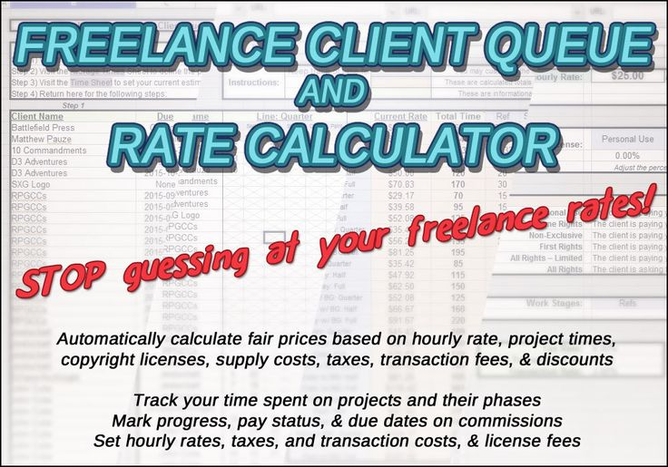 Stop guessing at what to charge your clients. This Freelance Client Queue & Rate Calculator will help you: Track the average time spent on up to 30 different types of projects, Monitor the average time spent on up to 6 phases of each product, Mark your progress, pay status, & due dates on client commissions, Set your hourly pay, tax rate, transaction costs, and licensing fees. Automatically calculates your fair price rates based on: - Hourly rate vs average project times. - Selected c...