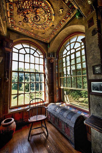 Double window at Fonthill, Doylestown, Pennsylvania