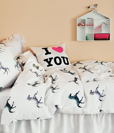 Cute girls room - monochrome and blush - love the horse bedding.