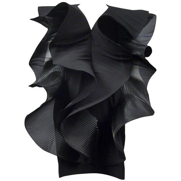 Pierre Cardin Couture Architectural Ruffle Dress ($6,215) ❤ liked on Polyvore featuring dresses, flutter-sleeve dresses, ruffle cocktail dress, flouncy dress, pierre cardin and couture cocktail dresses