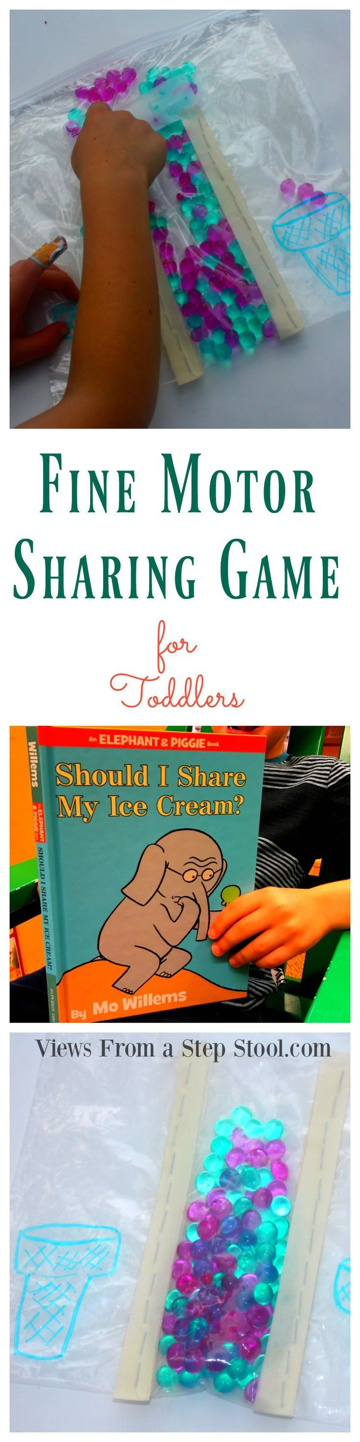 This fine motor sharing game for toddlers practices social skills through play, sharing