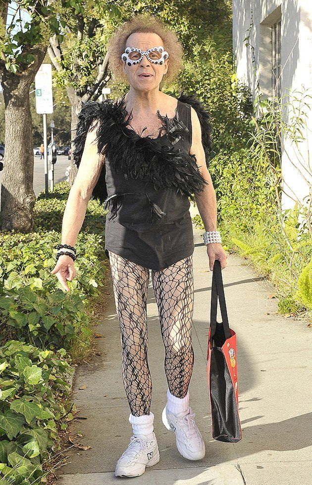richard simmons woman. richard simmons -- in a boa-adorned tank, fishnets, and freaky glasses woman o