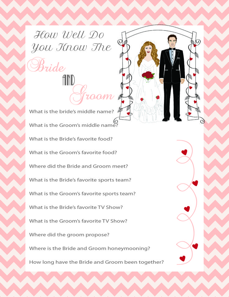 """Printable Bridal Shower Game """"How Well Do You Know The"""