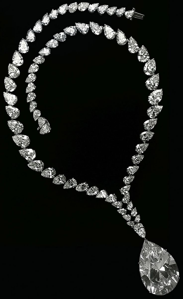 The Tayor-Burton diamond. The originalrough was found at the Premier mine in South Africa. It weighed 241 cts until Harry Winston cut it into the 69.42 ct pear shaped it is today. Cartier bought the diamonds and set it into the necklace above. Richard Burton bought the complete necklace for Elizabeth Taylor in 1969. Via Jewelry Nerd