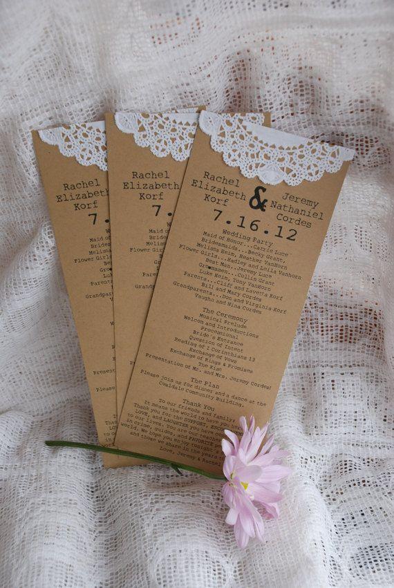 Custom Vintage Lace Doily Wedding Programs or Menus- Save the Date - Autumn…