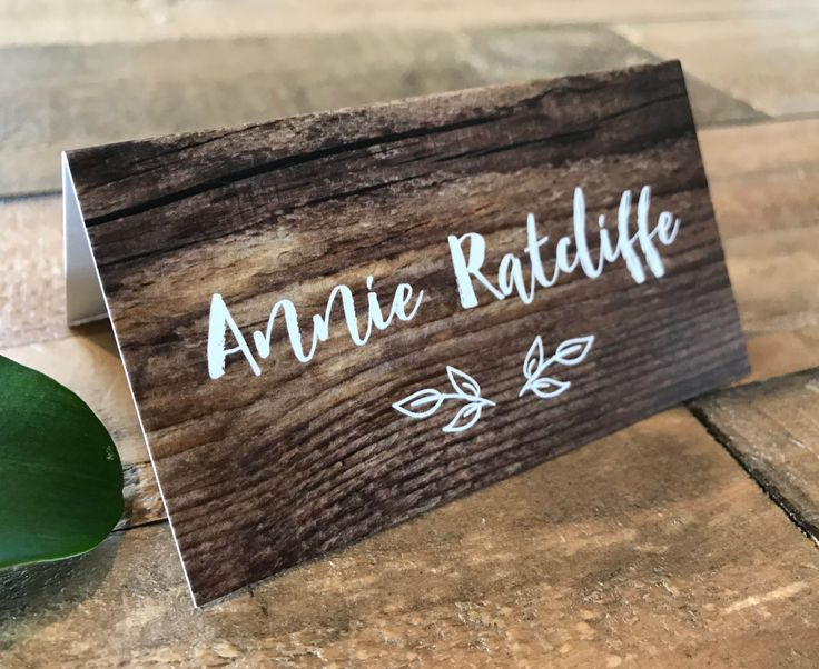 A rustic wood vintage forest | woods place card | tent card | escort card. Perfect for a woodland, forest, outback or garden wedding.