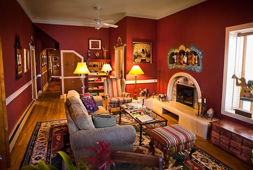 Living Room. Comfortable Thanksgiving Living Room Decoration Improvement Autumn Design Ideas : Appealing Red Colour Walls Thanksgiving Living Room Design Ideas In Santa Fe New Mexico Downtown With Grey Sofa Bed And Big Permadani Featuring Fireplace ~ wegli